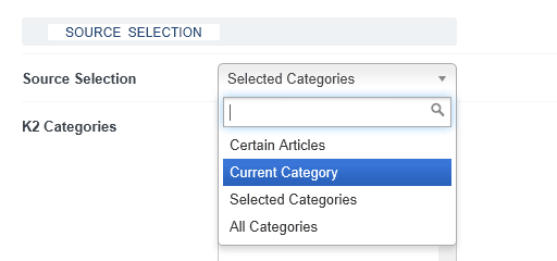 Module Source Selection > Current Category